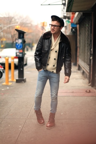 hipster-in-cardigan-skinny-jeans-boots-shearling-leather-jacket