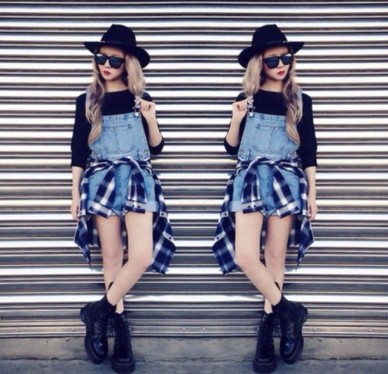 uzwjev-l-610x610-shorts-overalls-denim-overalls-flannel-shirt-indie-hipster-summer-summer-outfit-hat-sunglasses-shoes-shirt